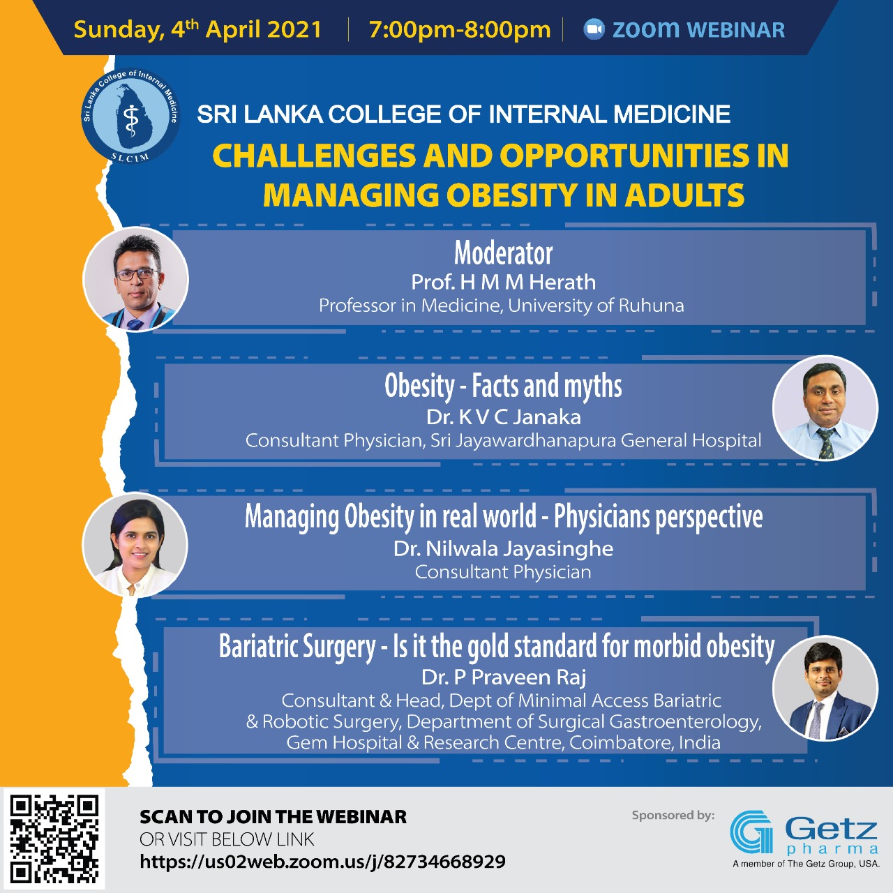 Challenges and Opportunities in Managing Obesity in Adults : Zoom webinar on 4th April 2021, at 7 PM
