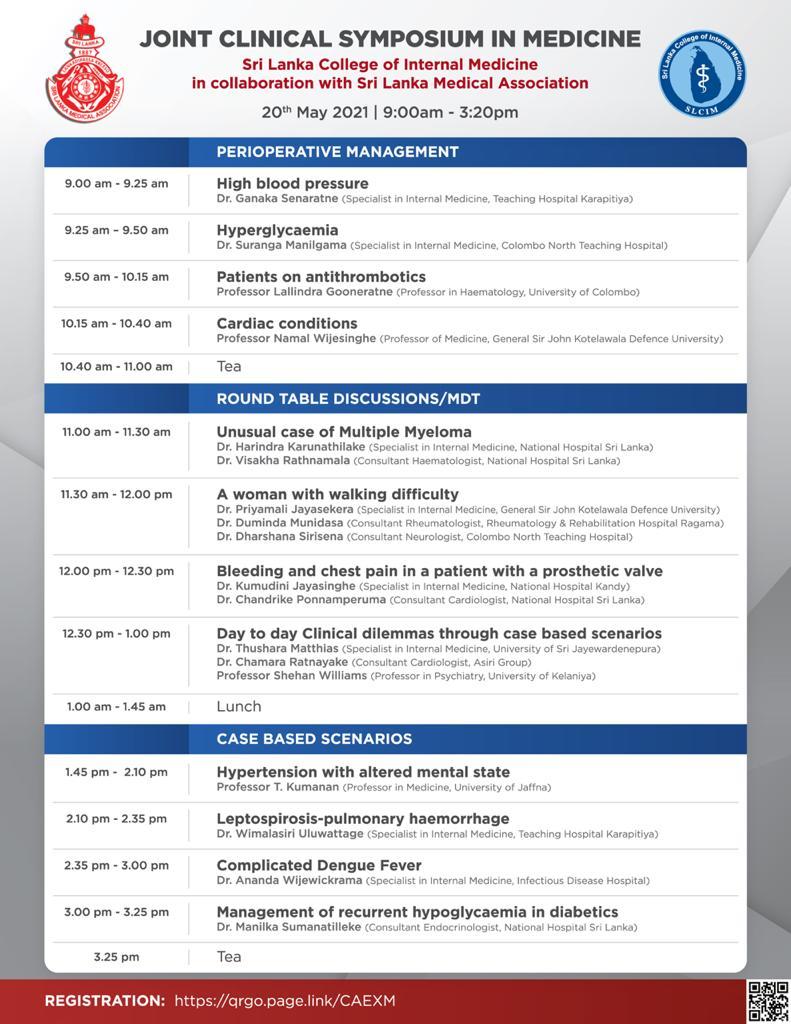 Clinical Symposium In Medicine : SLCIM in collaboration with SLMA, on 20th May, 2021